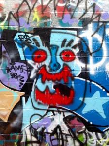 baltimore street art - blue face